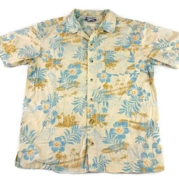 238aa19d Columbia Shirts | Beige Blue Floral Hawaiian Shirt | Poshmark